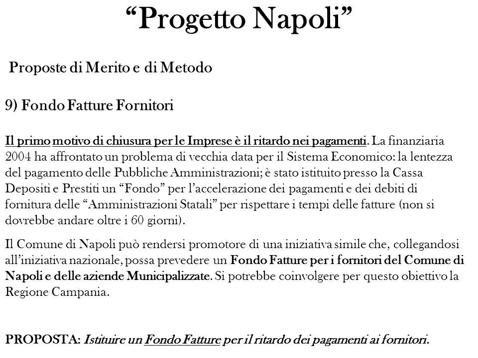 Progetto Napoli Proposte di Merito e di Metodo 9) Fondo Fatture Fornitori Il primo motivo di chiusura per le Imprese è il ritardo nei pagamenti.