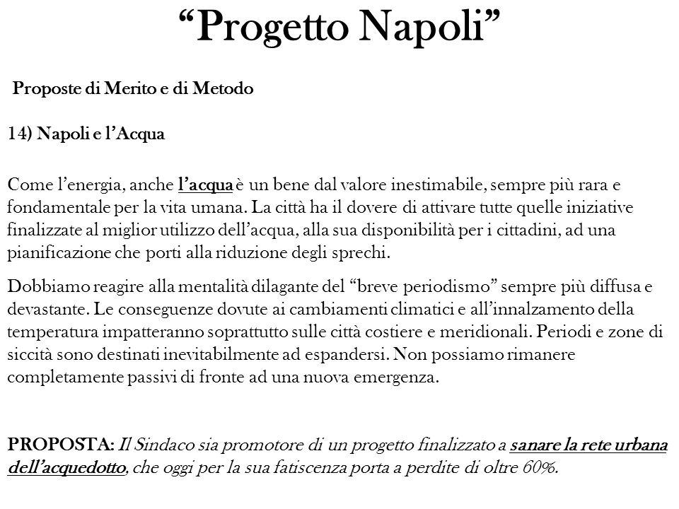 Progetto Napoli Proposte di Merito e di Metodo 14) Napoli e lAcqua Come lenergia, anche lacqua è un bene dal valore inestimabile, sempre più rara e fondamentale per la vita umana.