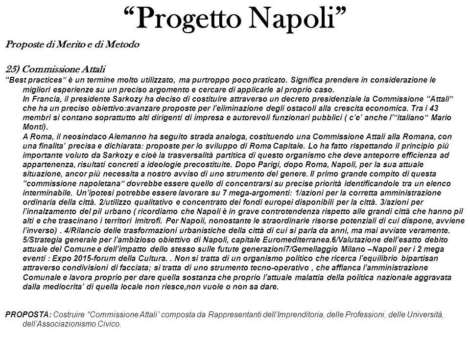 Progetto Napoli Proposte di Merito e di Metodo 25) Commissione Attali Best practices è un termine molto utilizzato, ma purtroppo poco praticato.