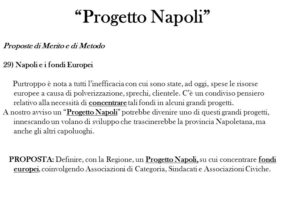 Proposte di Merito e di Metodo 29) Napoli e i fondi Europei Purtroppo è nota a tutti linefficacia con cui sono state, ad oggi, spese le risorse europee a causa di polverizzazione, sprechi, clientele.