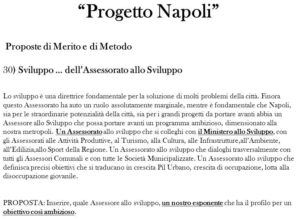 Progetto Napoli Proposte di Merito e di Metodo 30) Sviluppo … dellAssessorato allo Sviluppo Lo sviluppo è una direttrice fondamentale per la soluzione di molti problemi della città.