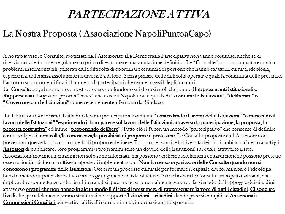 La Nostra Proposta ( Associazione NapoliPuntoaCapo) A nostro avviso le Consulte, ipotizzate dallAssessorato alla Democrazia Partecipativa non vanno costituite, anche se ci riserviamo la lettura del regolamento prima di esprimere una valutazione definitiva.