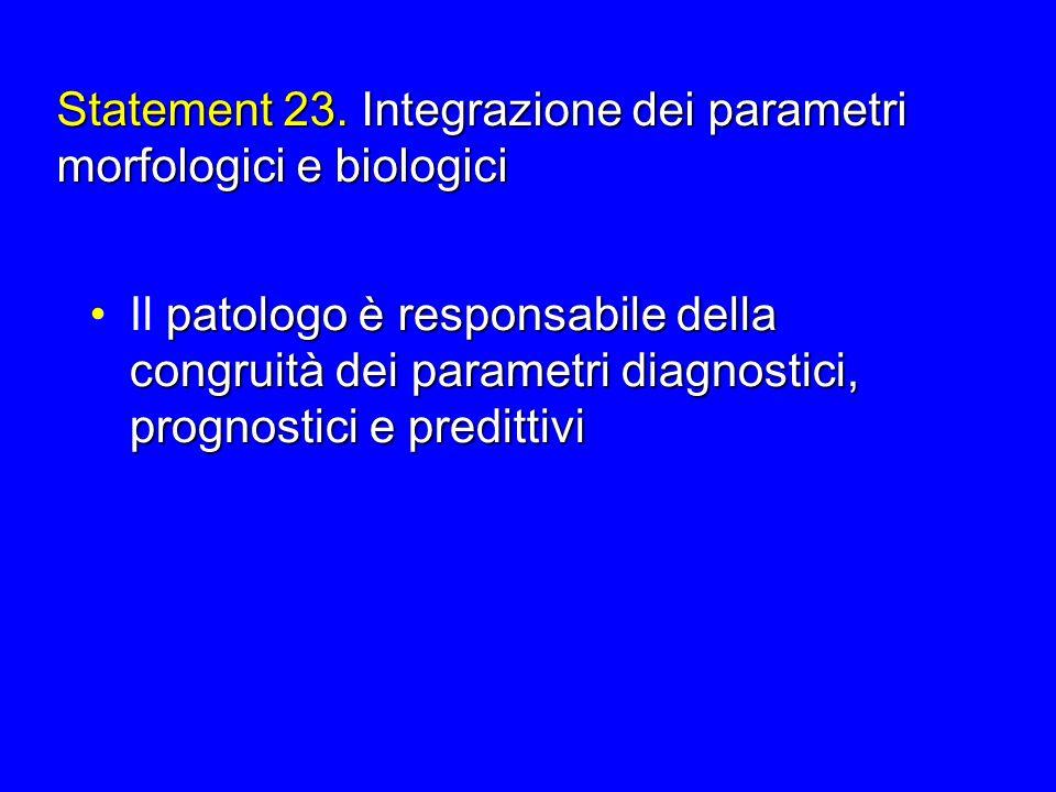 Statement 23. Integrazione dei parametri morfologici e biologici patologo è responsabile della congruit à dei parametri diagnostici, prognostici e pre