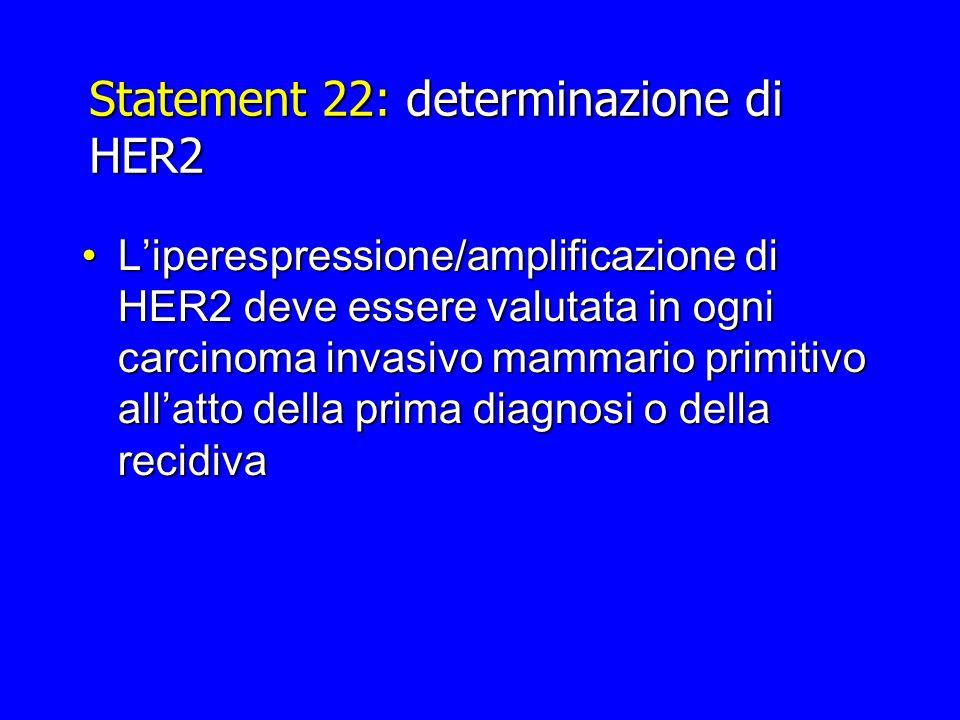 Statement 22: determinazione di HER2 Liperespressione/amplificazione di HER2 deve essere valutata in ogni carcinoma invasivo mammario primitivo allatt