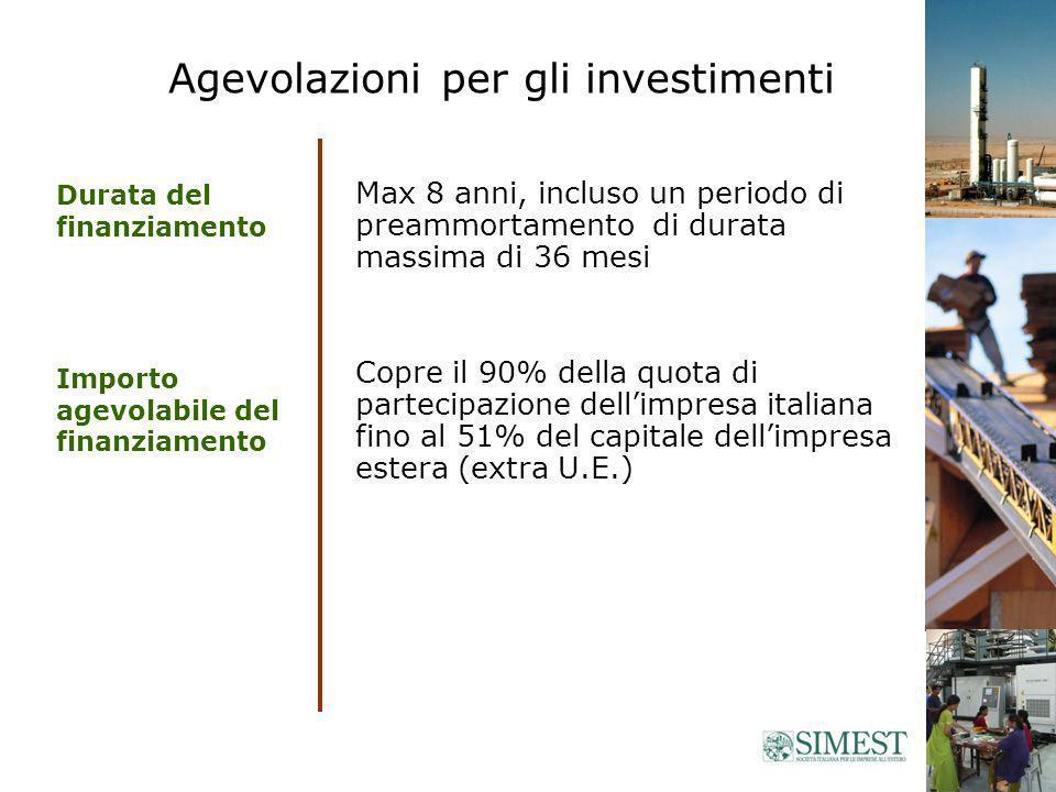 Agevolazioni per gli investimenti Max 8 anni, incluso un periodo di preammortamento di durata massima di 36 mesi Copre il 90% della quota di partecipazione dellimpresa italiana fino al 51% del capitale dellimpresa estera (extra U.E.) Durata del finanziamento Importo agevolabile del finanziamento