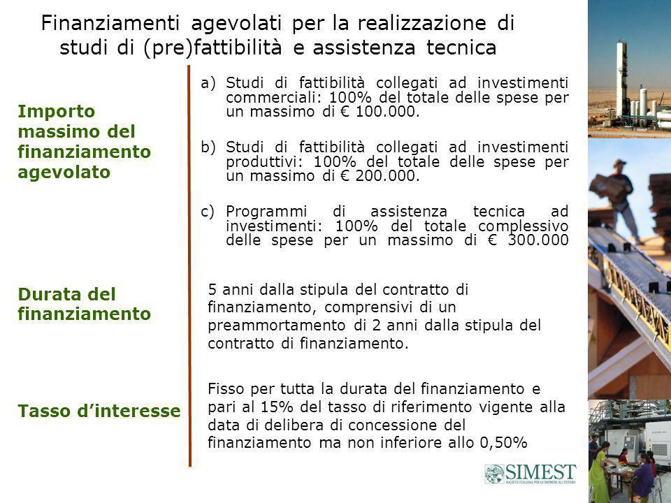 a)Studi di fattibilità collegati ad investimenti commerciali: 100% del totale delle spese per un massimo di 100.000.