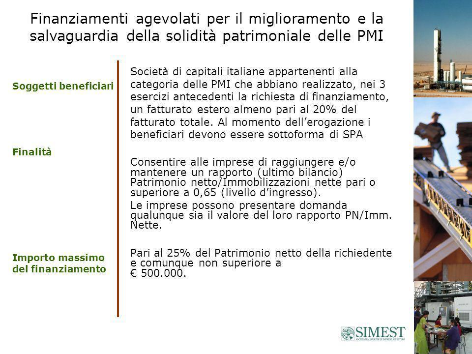 Società di capitali italiane appartenenti alla categoria delle PMI che abbiano realizzato, nei 3 esercizi antecedenti la richiesta di finanziamento, un fatturato estero almeno pari al 20% del fatturato totale.