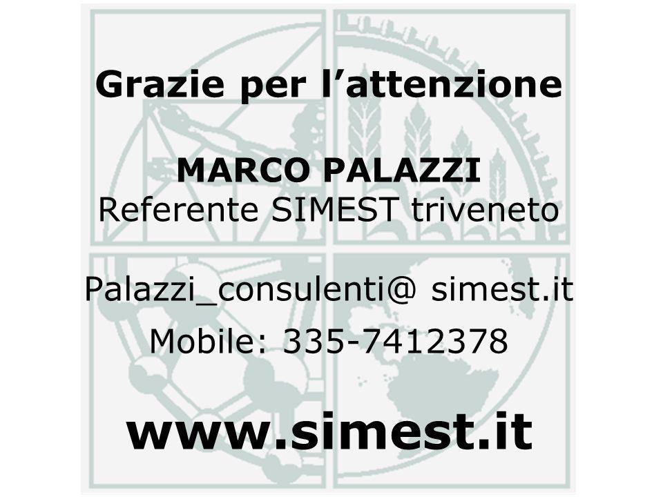 Grazie per lattenzione MARCO PALAZZI Referente SIMEST triveneto Palazzi_consulenti@ simest.it Mobile: 335-7412378 www.simest.it