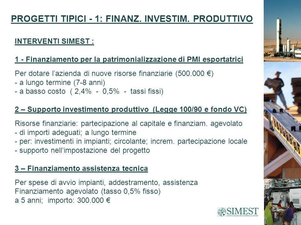PROGETTI TIPICI - 1: FINANZ. INVESTIM.