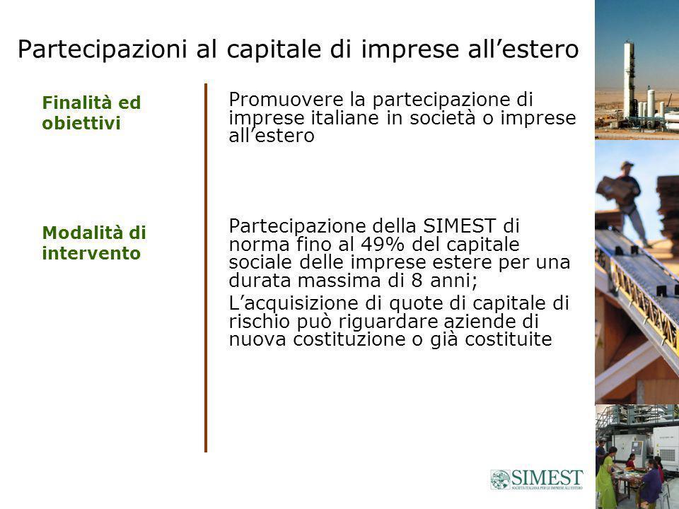 Fondo di Venture Capital (paesi focus) SIMEST + Fondo fino al 49% del capitale della società estera non superiore al totale delle quote detenute dai soci italiani max.