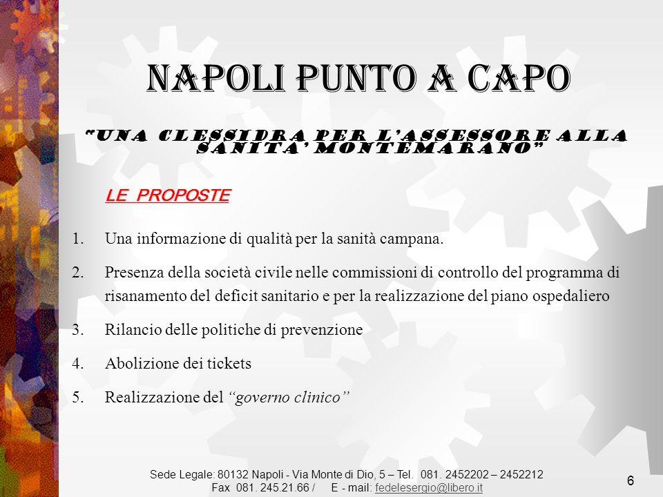 6 LE PROPOSTE 1.Una informazione di qualità per la sanità campana.