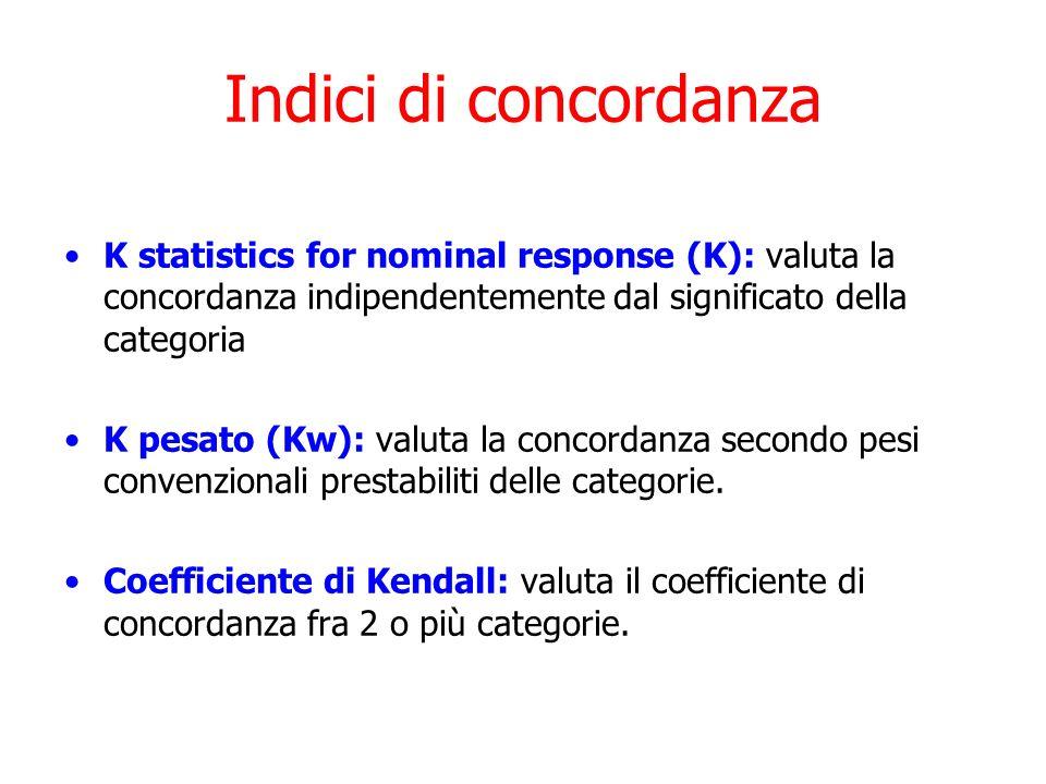 Indici di concordanza K statistics for nominal response (K): valuta la concordanza indipendentemente dal significato della categoria K pesato (Kw): va
