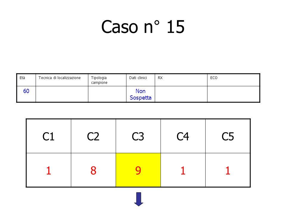 Caso n° 15 C1C2C3C4C5 18911 EtàTecnica di localizzazioneTipologia campione Dati cliniciRXECO 60Non Sospetta