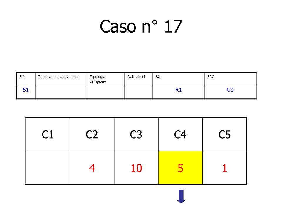 Caso n° 17 C1C2C3C4C5 41051 EtàTecnica di localizzazioneTipologia campione Dati cliniciRXECO 51R1U3