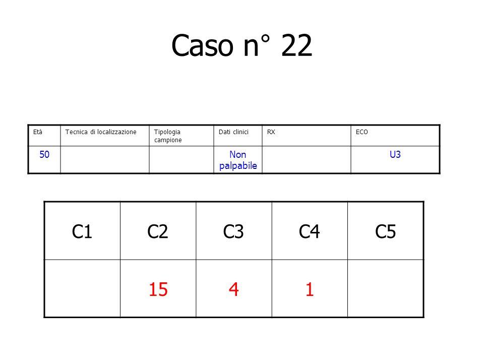Caso n° 22 C1C2C3C4C5 1541 EtàTecnica di localizzazioneTipologia campione Dati cliniciRXECO 50Non palpabile U3