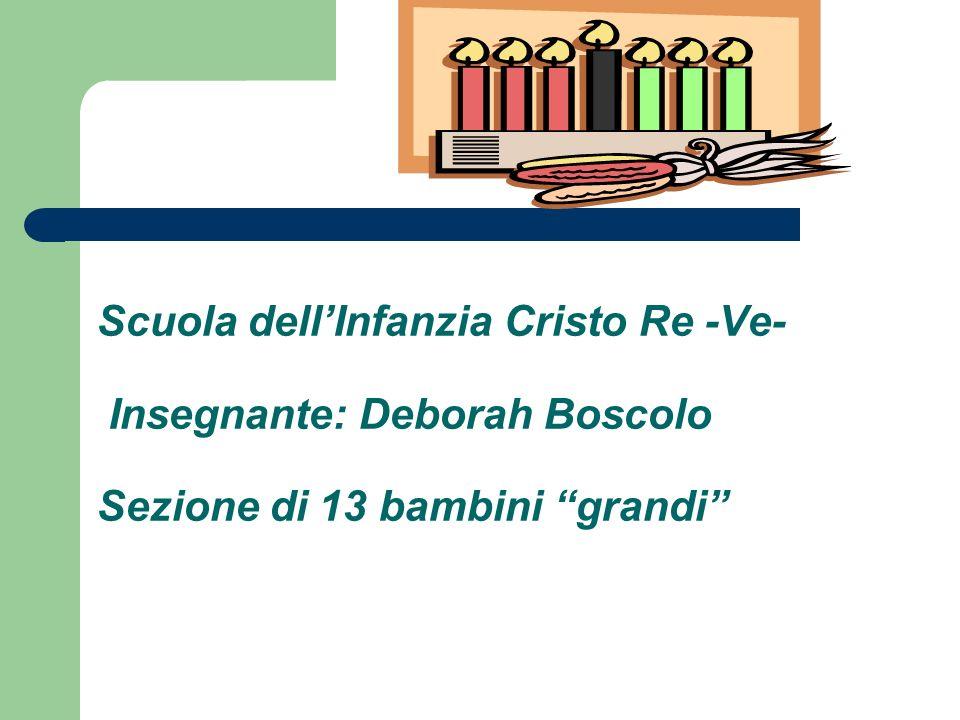 Scuola dellInfanzia Cristo Re -Ve- Insegnante: Deborah Boscolo Sezione di 13 bambini grandi