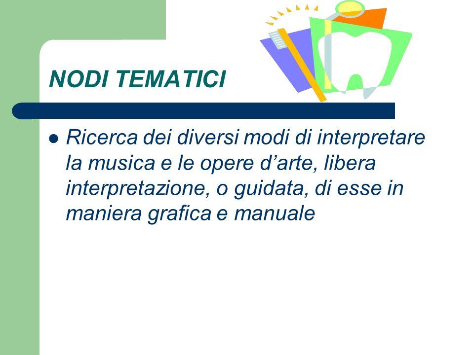 NODI TEMATICI Ricerca dei diversi modi di interpretare la musica e le opere darte, libera interpretazione, o guidata, di esse in maniera grafica e manuale