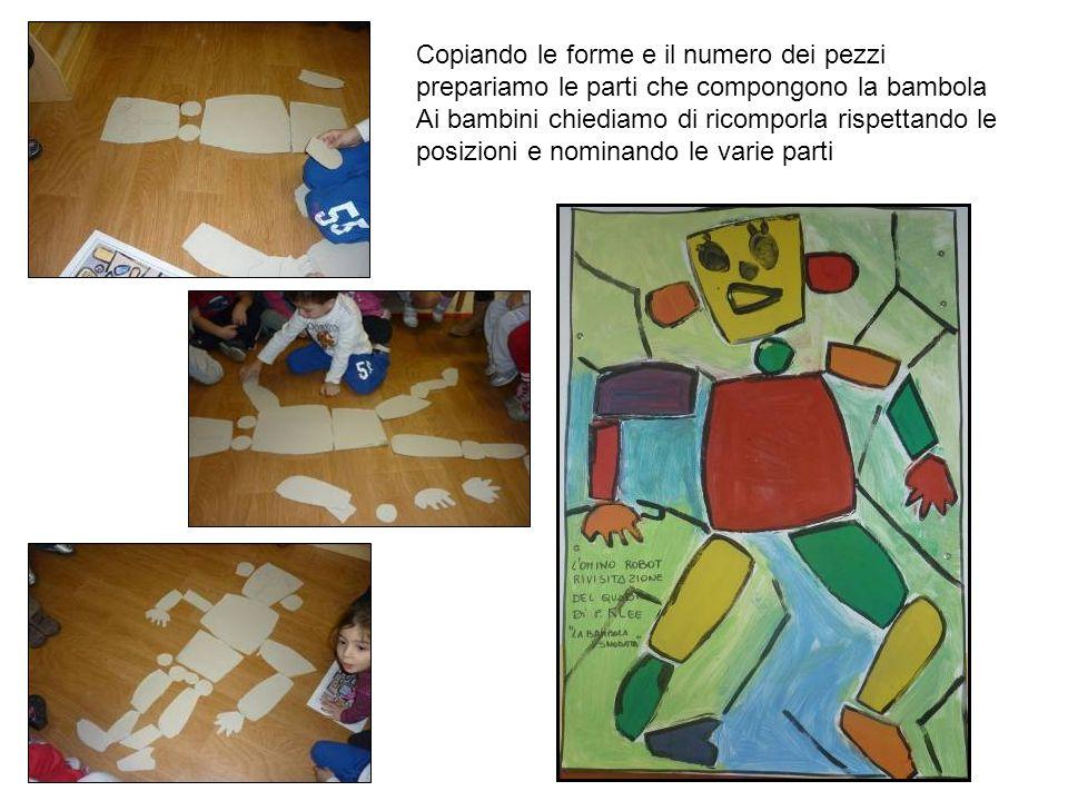 Copiando le forme e il numero dei pezzi prepariamo le parti che compongono la bambola Ai bambini chiediamo di ricomporla rispettando le posizioni e no