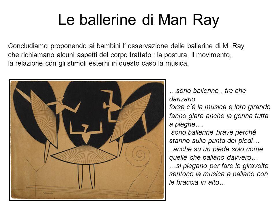 Le ballerine di Man Ray Concludiamo proponendo ai bambini l osservazione delle ballerine di M. Ray che richiamano alcuni aspetti del corpo trattato :