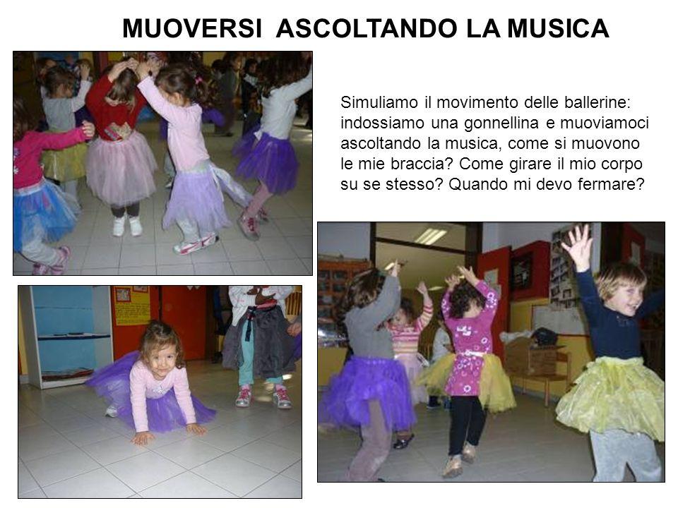MUOVERSI ASCOLTANDO LA MUSICA Simuliamo il movimento delle ballerine: indossiamo una gonnellina e muoviamoci ascoltando la musica, come si muovono le