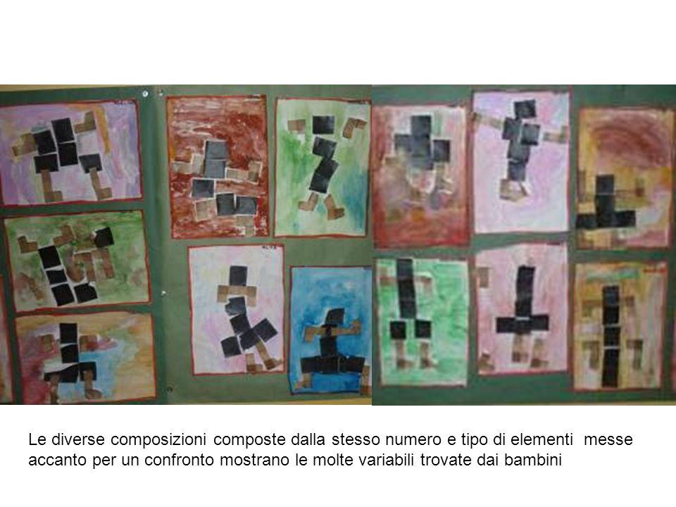 Le diverse composizioni composte dalla stesso numero e tipo di elementi messe accanto per un confronto mostrano le molte variabili trovate dai bambini
