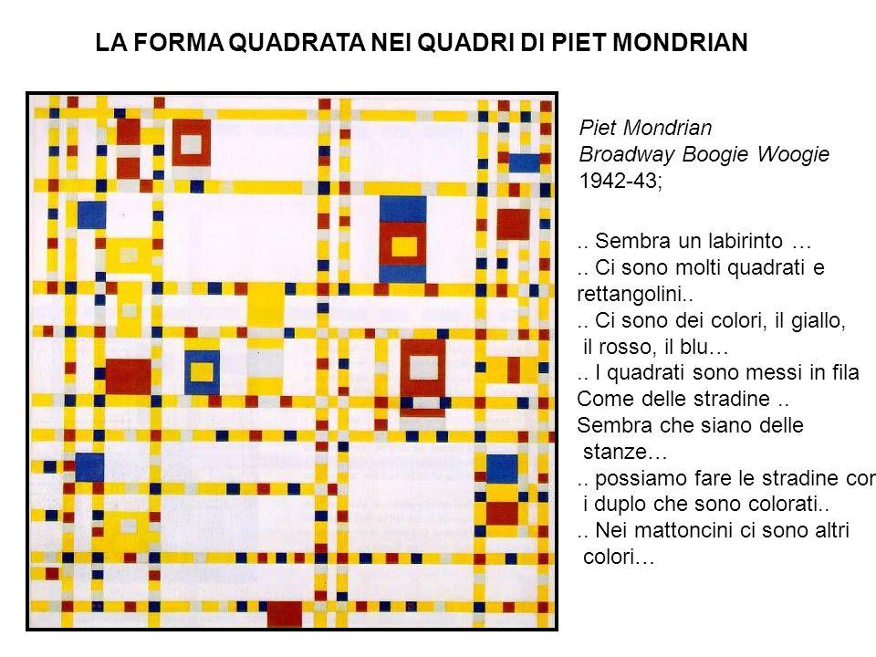 Piet Mondrian Broadway Boogie Woogie 1942-43; LA FORMA QUADRATA NEI QUADRI DI PIET MONDRIAN.. Sembra un labirinto ….. Ci sono molti quadrati e rettang