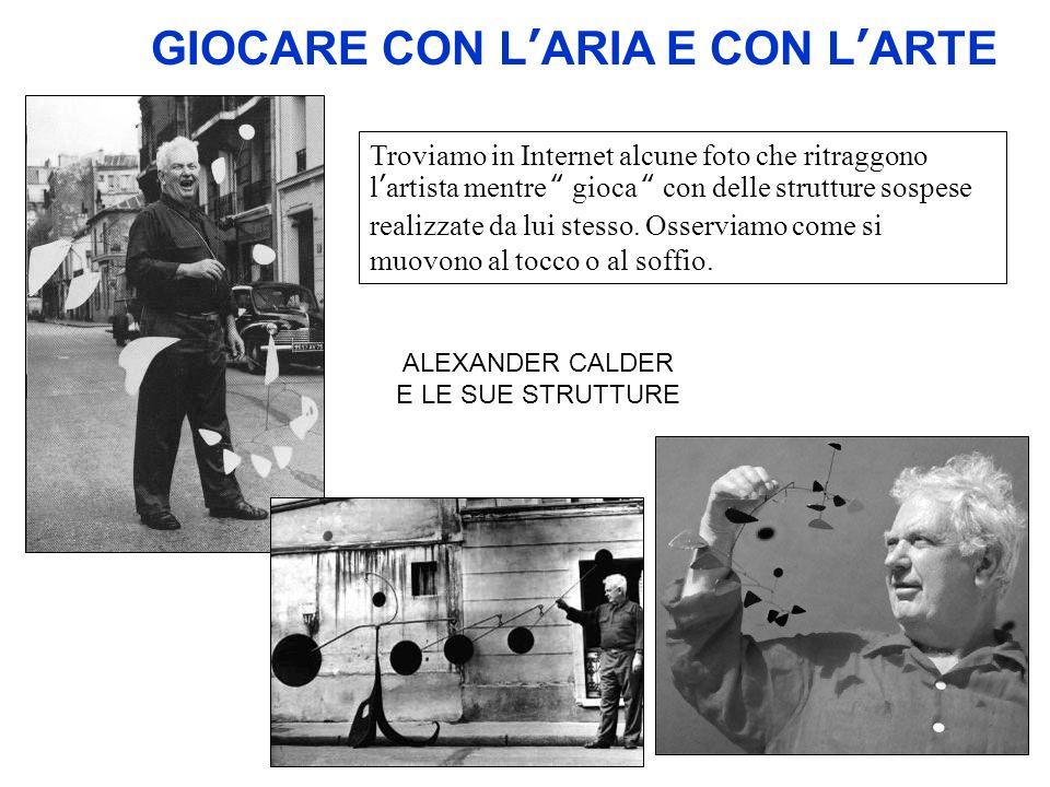 GIOCARE CON LARIA E CON LARTE Troviamo in Internet alcune foto che ritraggono lartista mentre gioca con delle strutture sospese realizzate da lui stes