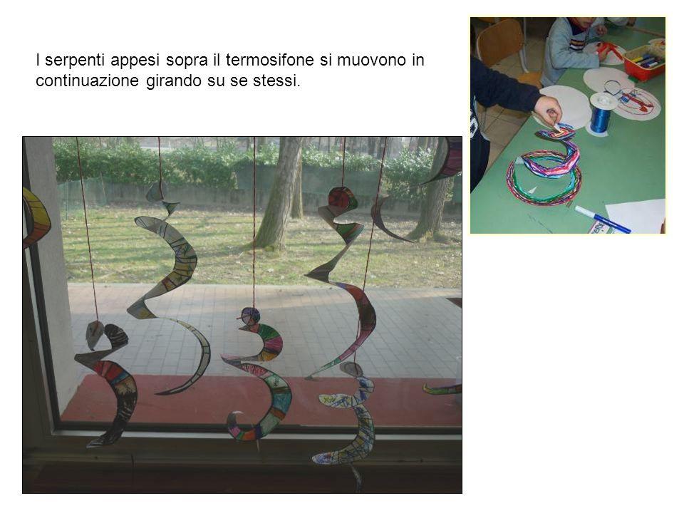 I serpenti appesi sopra il termosifone si muovono in continuazione girando su se stessi.