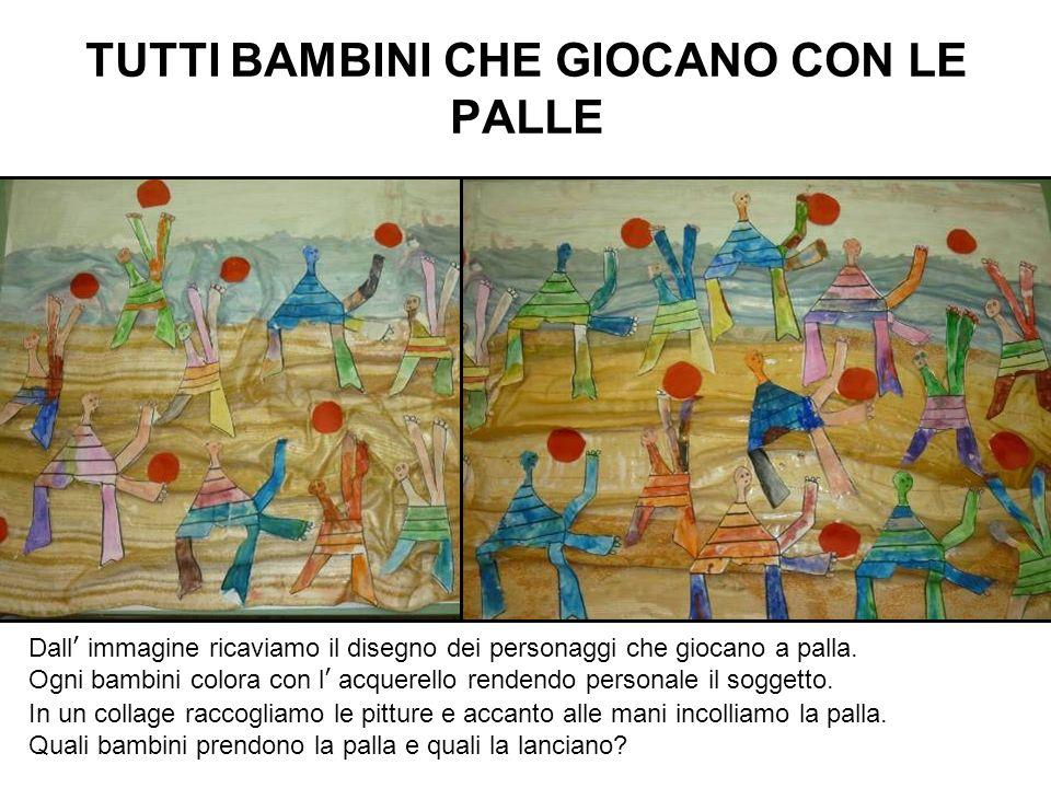 TUTTI BAMBINI CHE GIOCANO CON LE PALLE Dall immagine ricaviamo il disegno dei personaggi che giocano a palla. Ogni bambini colora con l acquerello ren