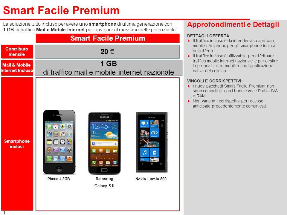 1 Smart Facile Premium Approfondimenti e Dettagli DETTAGLI OFFERTA: Il traffico incluso è da intendersi su apn wap, mobile e/o iphone per gli smartpho