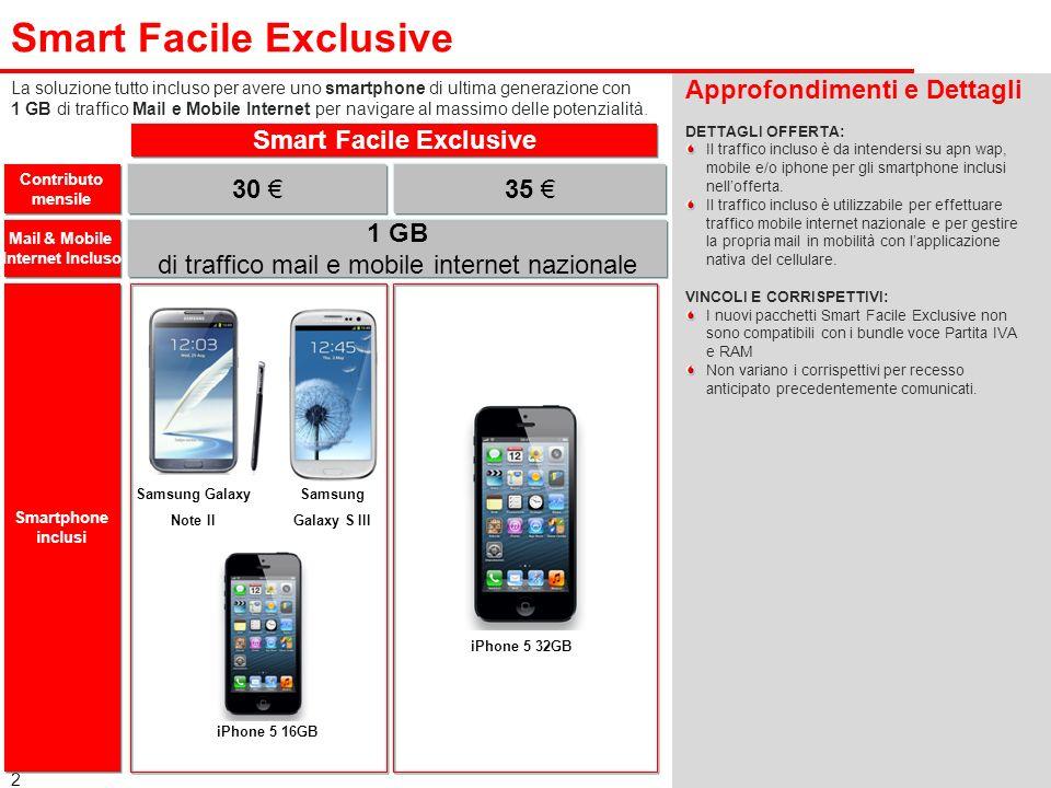 2 Smart Facile Exclusive Approfondimenti e Dettagli DETTAGLI OFFERTA: Il traffico incluso è da intendersi su apn wap, mobile e/o iphone per gli smartp