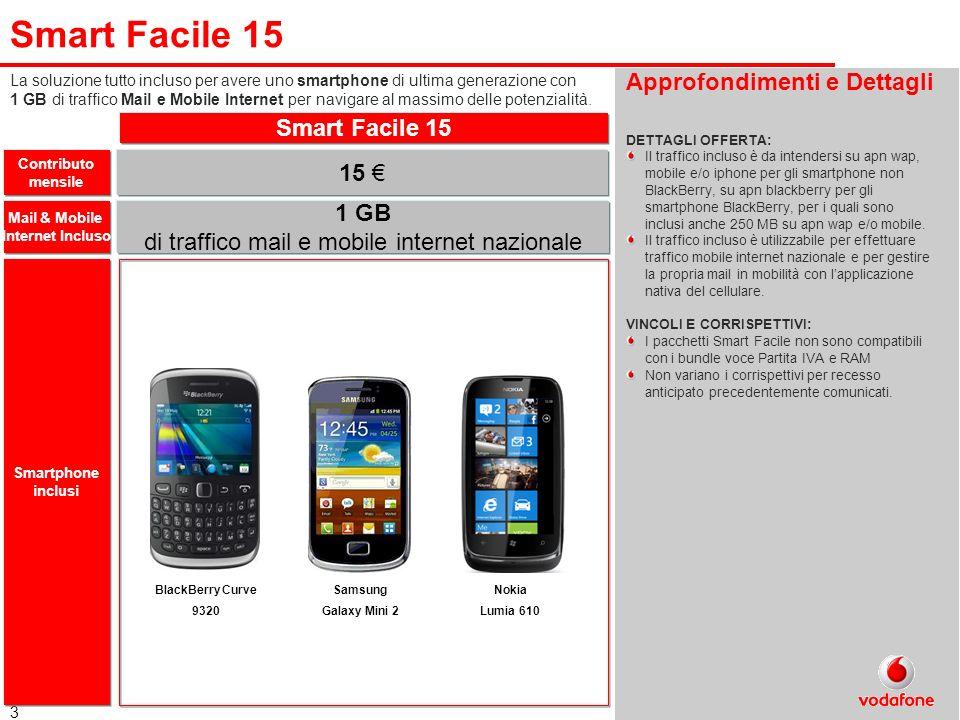3 Smart Facile 15 Approfondimenti e Dettagli DETTAGLI OFFERTA: Il traffico incluso è da intendersi su apn wap, mobile e/o iphone per gli smartphone no