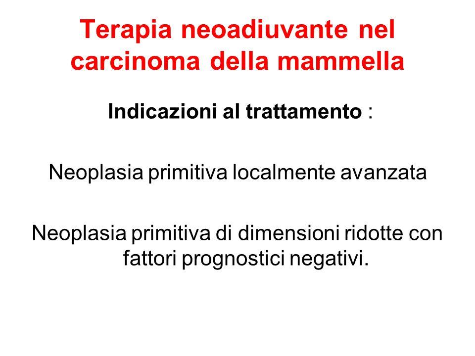 Terapia neoadiuvante nel carcinoma della mammella Indicazioni al trattamento : Neoplasia primitiva localmente avanzata Neoplasia primitiva di dimensio