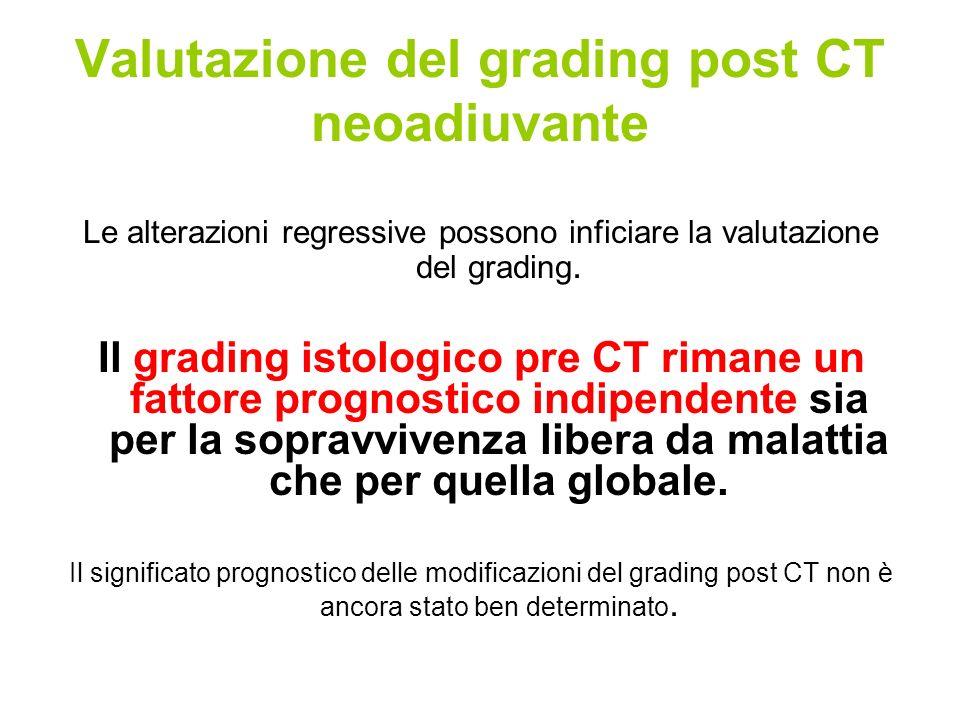 Valutazione del grading post CT neoadiuvante Le alterazioni regressive possono inficiare la valutazione del grading. Il grading istologico pre CT rima