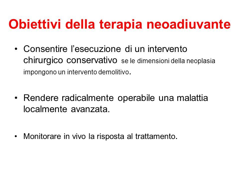 Obiettivi della terapia neoadiuvante Consentire lesecuzione di un intervento chirurgico conservativo se le dimensioni della neoplasia impongono un int