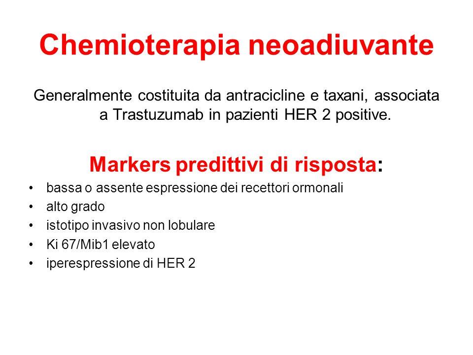 Chemioterapia neoadiuvante Generalmente costituita da antracicline e taxani, associata a Trastuzumab in pazienti HER 2 positive. Markers predittivi di