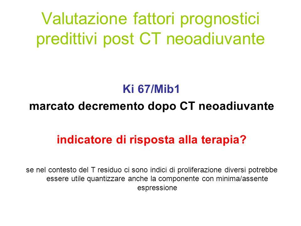 Valutazione fattori prognostici predittivi post CT neoadiuvante Ki 67/Mib1 marcato decremento dopo CT neoadiuvante indicatore di risposta alla terapia.