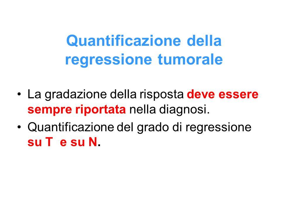 Quantificazione della regressione tumorale La gradazione della risposta deve essere sempre riportata nella diagnosi. Quantificazione del grado di regr