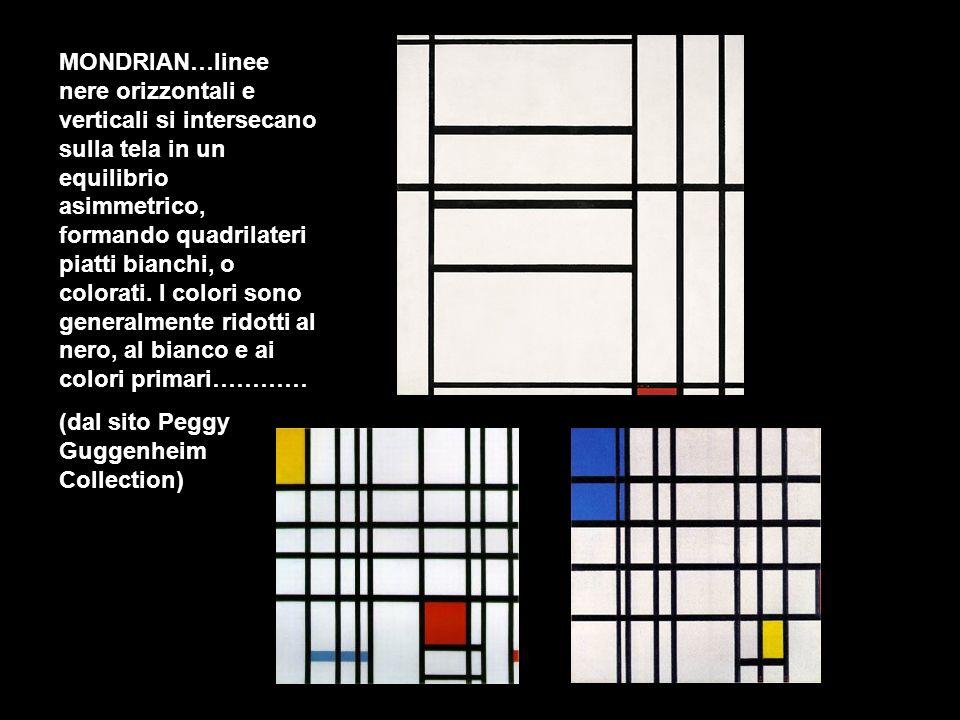 MONDRIAN…linee nere orizzontali e verticali si intersecano sulla tela in un equilibrio asimmetrico, formando quadrilateri piatti bianchi, o colorati.