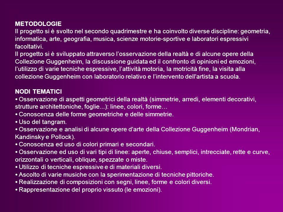 METODOLOGIE Il progetto si è svolto nel secondo quadrimestre e ha coinvolto diverse discipline: geometria, informatica, arte, geografia, musica, scien