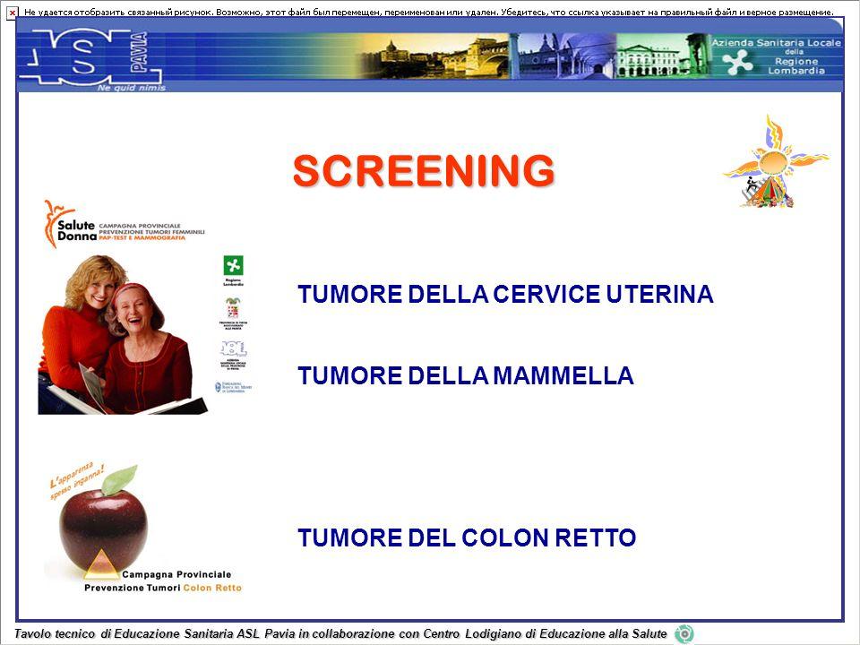 SCREENING TUMORE DELLA CERVICE UTERINA TUMORE DELLA MAMMELLA TUMORE DEL COLON RETTO