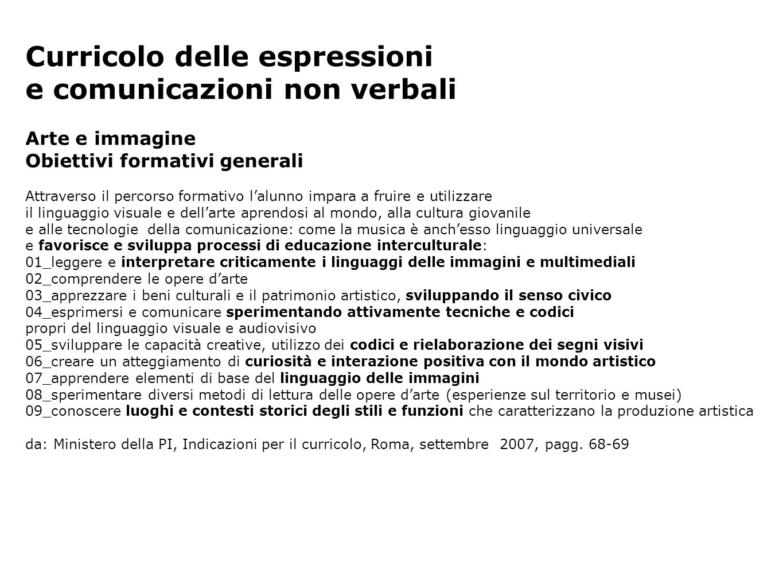 Curricolo delle espressioni e comunicazioni non verbali Arte e immagine Obiettivi formativi generali Attraverso il percorso formativo lalunno impara a