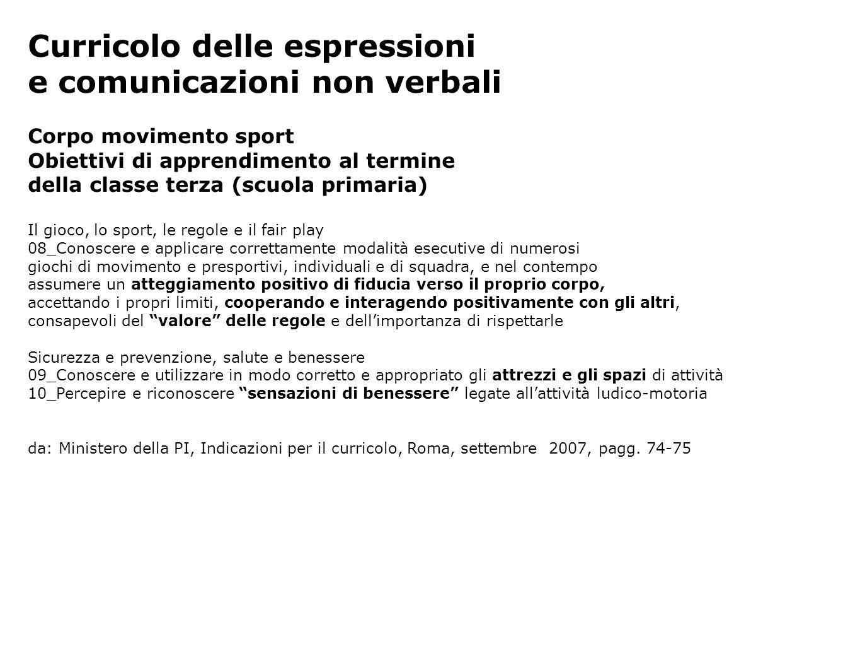 Curricolo delle espressioni e comunicazioni non verbali Corpo movimento sport Obiettivi di apprendimento al termine della classe terza (scuola primari