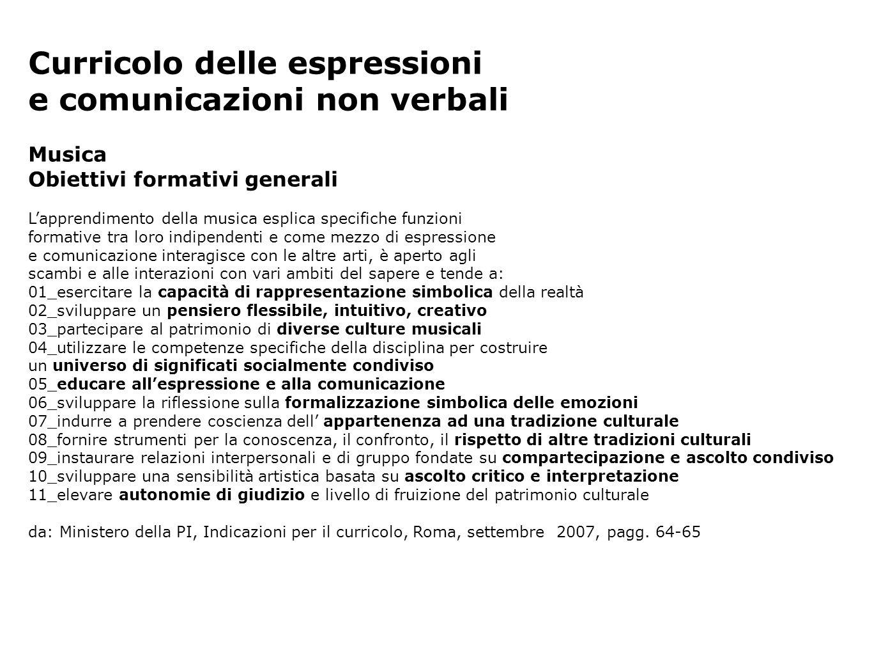 Curricolo delle espressioni e comunicazioni non verbali Musica Obiettivi formativi generali Lapprendimento della musica esplica specifiche funzioni fo