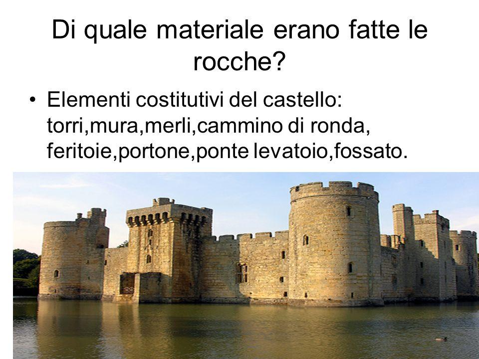 Di quale materiale erano fatte le rocche? Elementi costitutivi del castello: torri,mura,merli,cammino di ronda, feritoie,portone,ponte levatoio,fossat