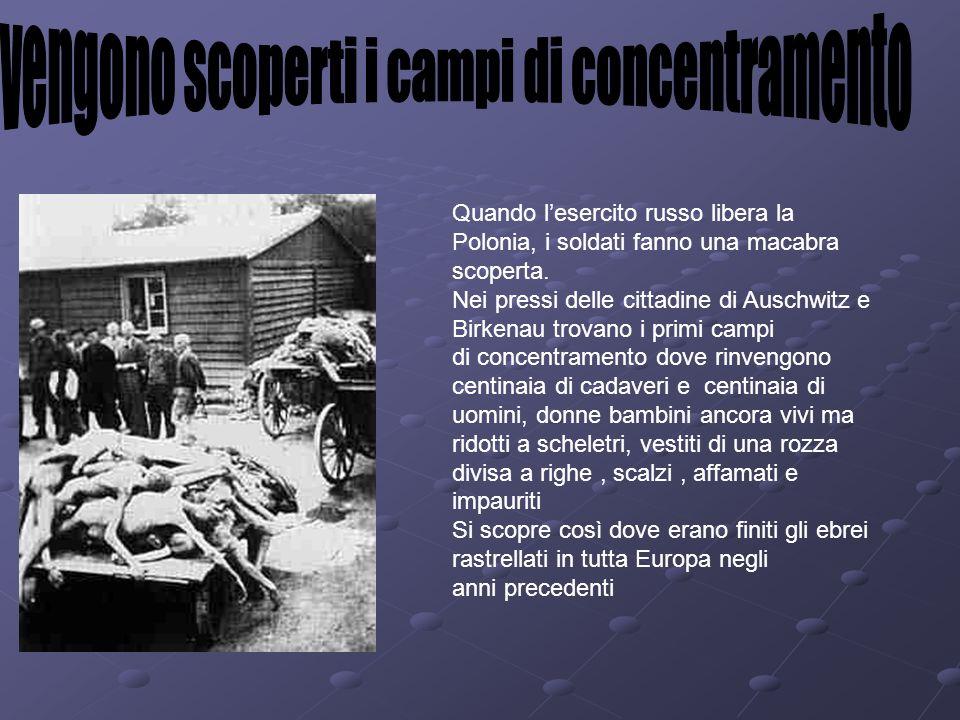 Quando lesercito russo libera la Polonia, i soldati fanno una macabra scoperta. Nei pressi delle cittadine di Auschwitz e Birkenau trovano i primi cam