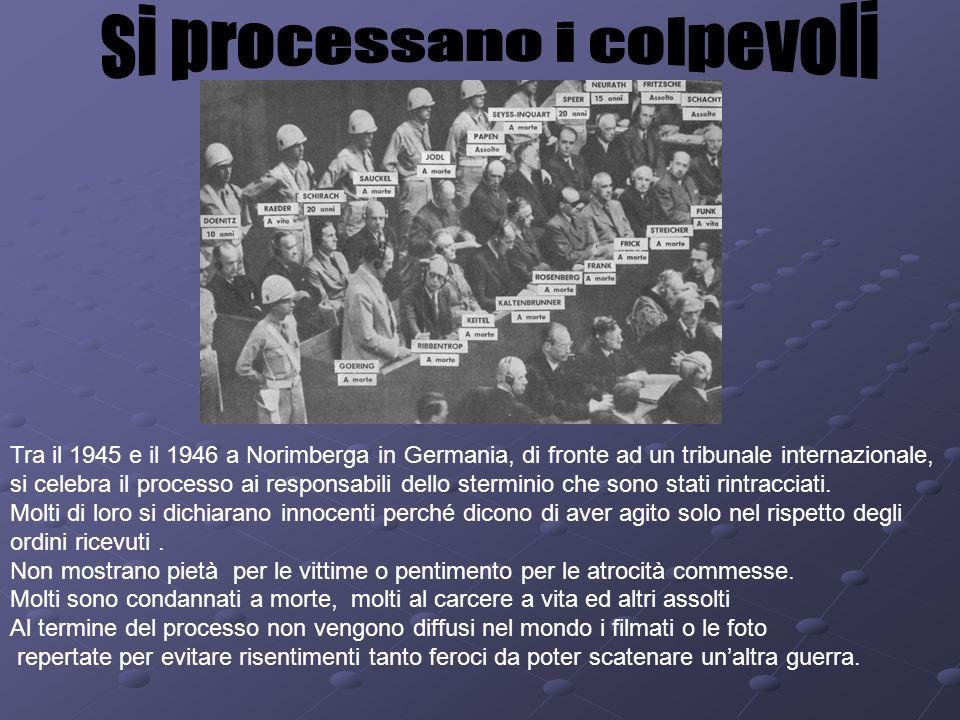 Tra il 1945 e il 1946 a Norimberga in Germania, di fronte ad un tribunale internazionale, si celebra il processo ai responsabili dello sterminio che s