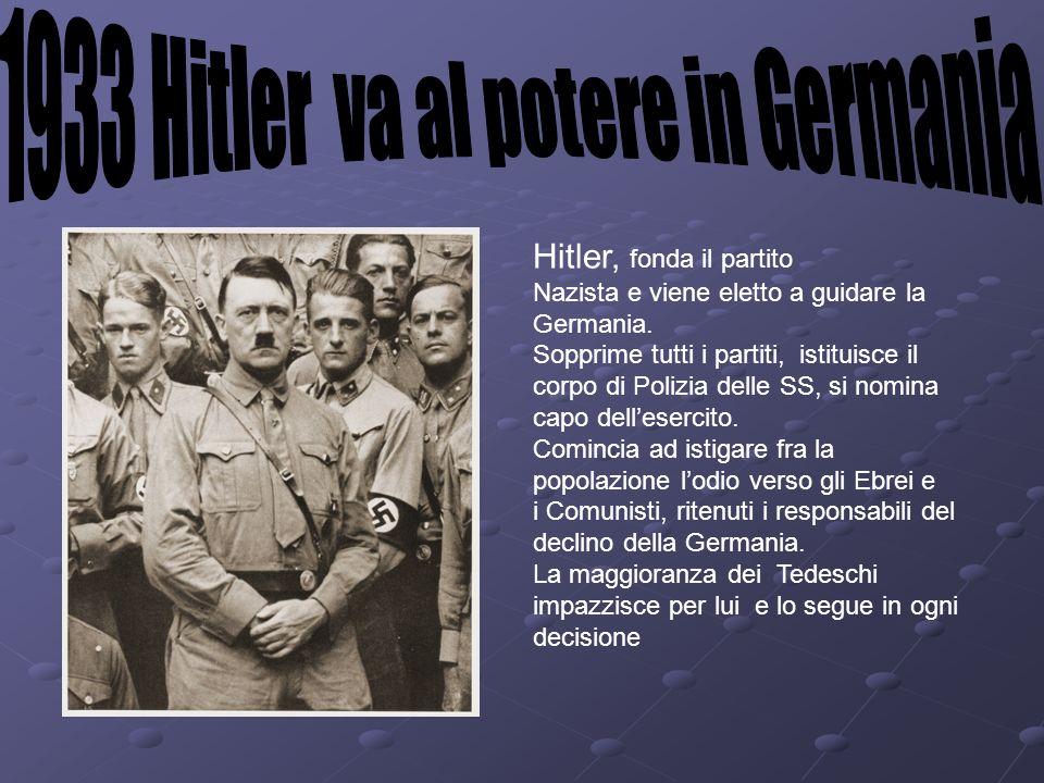 Hitler, fonda il partito Nazista e viene eletto a guidare la Germania. Sopprime tutti i partiti, istituisce il corpo di Polizia delle SS, si nomina ca