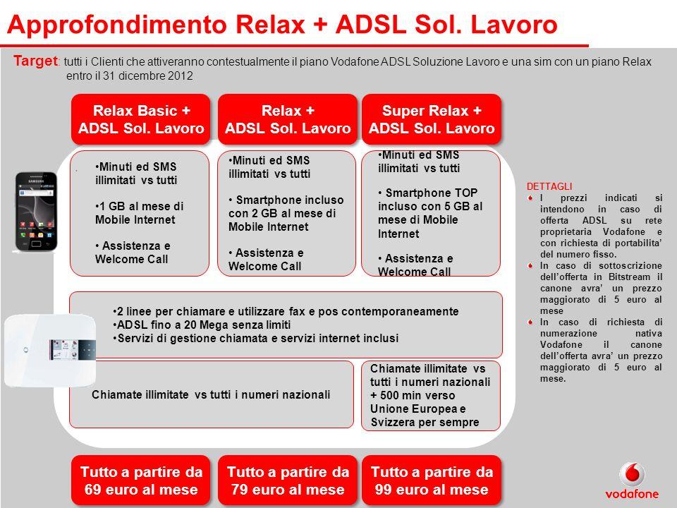 . Approfondimento Relax + ADSL Sol. Lavoro Target : tutti i Clienti che attiveranno contestualmente il piano Vodafone ADSL Soluzione Lavoro e una sim