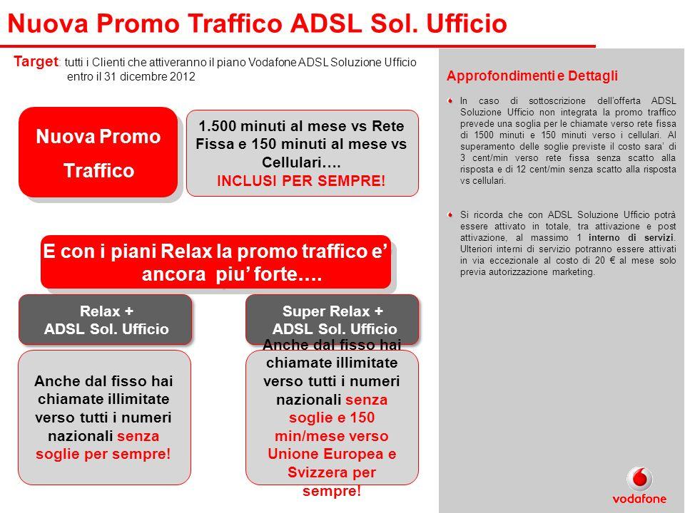 Target : tutti i Clienti che attiveranno il piano Vodafone ADSL Soluzione Ufficio entro il 31 dicembre 2012 Nuova Promo Traffico 1.500 minuti al mese